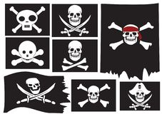 Skull and crossbones. Pirate flags Royalty Free Stock Photo