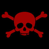 Skull and crossbones. Red isolated on black background Stock Photos