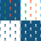 Skull and crossbones repeat seamless pattern. Skull and crossbones repeat seamless background pattern in square format with four different designs including blue Royalty Free Stock Photo