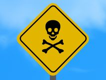Skull and Crossbones Sign. Yellow sign with skull and crossbones vector illustration