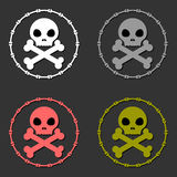 Skull and crossbones sign symbol set Royalty Free Stock Photography