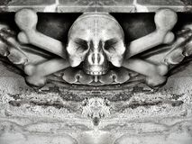 Skull and crossbones. Skelton bone graphic black and white royalty free stock photos