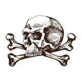 Skull and crossbones. Sketch vector hand drawn for tattoo illustrations. The symbol of life and death royalty free illustration