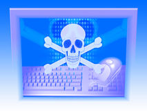 Skull and crossbones (spirit of hacker). Skull and crossbones with a background of binary digits (spirit of hacker Royalty Free Stock Image