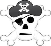 Skull and Crossbones Symbol. Traditional illustration of danger wearing pirate hate Stock Image