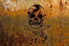 Skull and crossbones symbolic for danger and life threatening painted over a rusty metal plate. Texture background Royalty Free Stock Photo