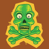 Skull and Crossbones tiki cartoon illustration Royalty Free Stock Photography