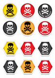 Skull & Crossbones Warning Stickers. A great set of warning signals or stickers with skulls and crossed bones Stock Photos