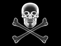 Skull and crossbones x-ray silhouette Stock Images