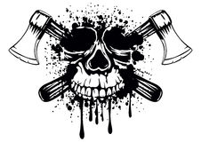 Skull with crossed axes Royalty Free Stock Images