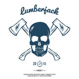 Skull with Crossed Axes. Vector Royalty Free Stock Photo