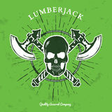 Skull with Crossed Axes  on white. Vector Royalty Free Stock Image