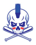 Skull and crossed baseball bat Royalty Free Stock Photos