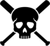 Skull with crossed baseball bats Royalty Free Stock Photo
