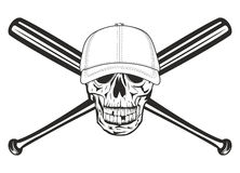Skull and crossed bats. The vector image skull in baseball cap and crossed bats Stock Photography