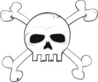 Skull and crossed bones. Illustrated skull with crossed bones in the back Stock Photos