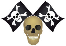 Skull with the crossed flags. Royalty Free Stock Photo