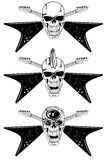 Skull with crossed guitars. Vector image human skull with the crossed guitars Stock Image