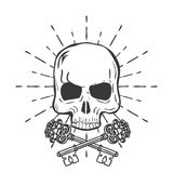 Skull with crossed keys isolated on white background vector Stock Photos