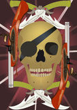 Skull with the crossed knifes and pistols. Stock Images