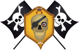 Skull with the crossed pistols and knifes. Stock Photo