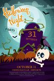 Skull, crow, and cemetery. Halloween party invitation vector illustration