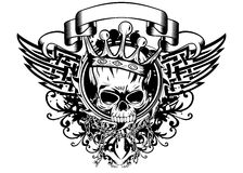 Skull in crown and abstract patterns Stock Images