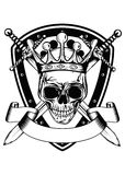Skull in crown board and crossed swords Royalty Free Stock Images