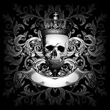 Skull crown and ornament Stock Images