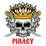 Skull with crown and sabres for piracy design Royalty Free Stock Image