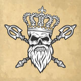 Skull, crown and scepter. Line art style. Stock Photos