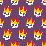 Skull Crown Seamless pattern. Vector background head skeleton Royalty Free Stock Image