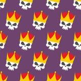 Skull Crown Seamless pattern. Vector background head skeleton Royalty Free Stock Image