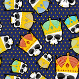 Skull Crown Seamless pattern. Vector background for Kings of str Stock Photography