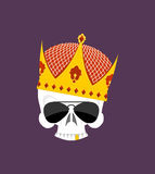 Skull Crown. White head skeleton in Sun points, and with gold te Royalty Free Stock Photography