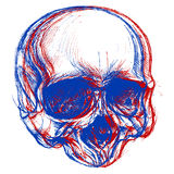 Skull 3D. Skull drawing line work in conceptual 3D. Vector for use Royalty Free Stock Photo