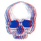 Skull 3D. Skull drawing line work in conceptual 3D. Vector for use royalty free illustration