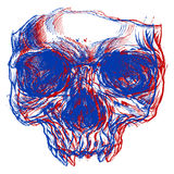 Skull 3D. Skull drawing line work in conceptual 3D. Vector for use vector illustration