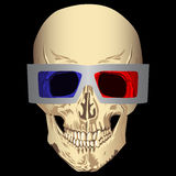 Skull with 3d glasses Royalty Free Stock Photography