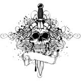 Skull dagger rose Royalty Free Stock Photo