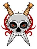 Skull with dagger Stock Image