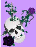 Skull, with daggers and roses illustration Royalty Free Stock Photography