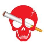 Skull danger with cigarette Stock Photos