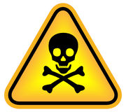 Skull danger sign. Mortal danger sign with skull Royalty Free Stock Photo
