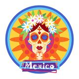 Skull Day Of Dead Concept Traditional Mexican Halloween royalty free illustration
