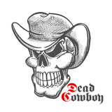Skull of dead cowboy in hat sketch symbol Royalty Free Stock Photography