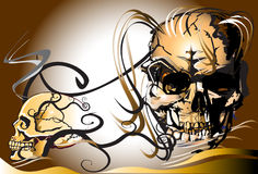 Skull and dead. Create a graphic image. Image skull with wings design with creative designs Thailand. The heat of the mysterious death decorative line thai Royalty Free Stock Images