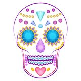 Skull decorated with colorful precious stones and. Cartoon vector skull decorated with colorful precious stones and gems  on white background Stock Photos