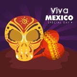 Skull decoration with maracas to day of the dead event. Vector illustration stock illustration