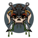 Skull demon hardcore illustration. With weapon and another detail for tattoo and shirt Royalty Free Stock Photo